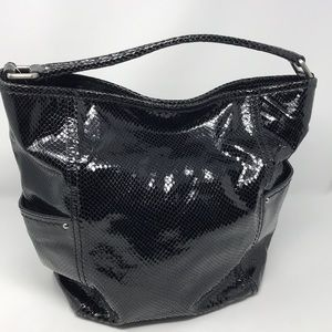 Cole Haan Tote Bag Embossed Reptile Dk Brown VTG